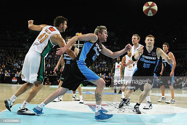 Dillon Boucher of the Breakers runs to regain posession during game three of the NBL Finals series between the Townsville Crocodiles and the New...