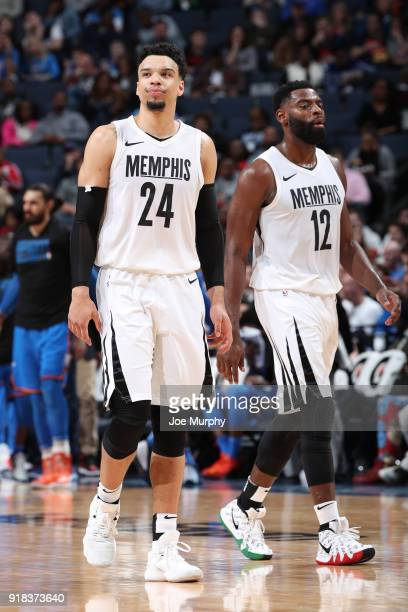 Dillon Brooks and Tyreke Evans of the Memphis Grizzlies look on during the game against the Oklahoma City Thunder on February 14 2018 at FedExForum...