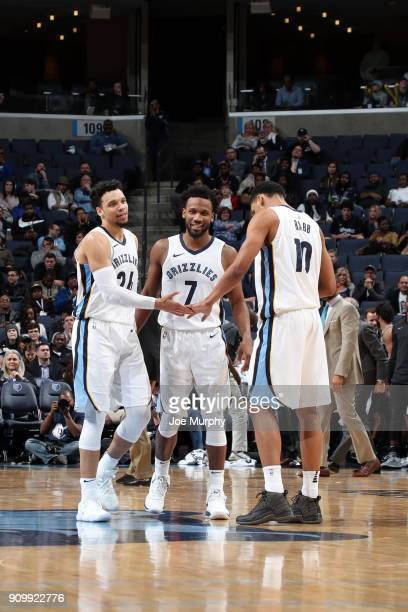 Dillon Brooks Ivan Rabb and Dillon Brooks of the Memphis Grizzlies high five during the game against the San Antonio Spurs on January 24 2018 at...