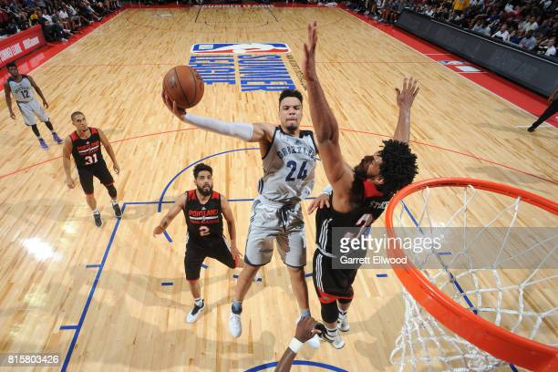 Dillon Brooks of the Memphis Grizzlies goes to the basket against the Portland Trail Blazers during the 2017 Summer League Semifinals on July 16 2017...