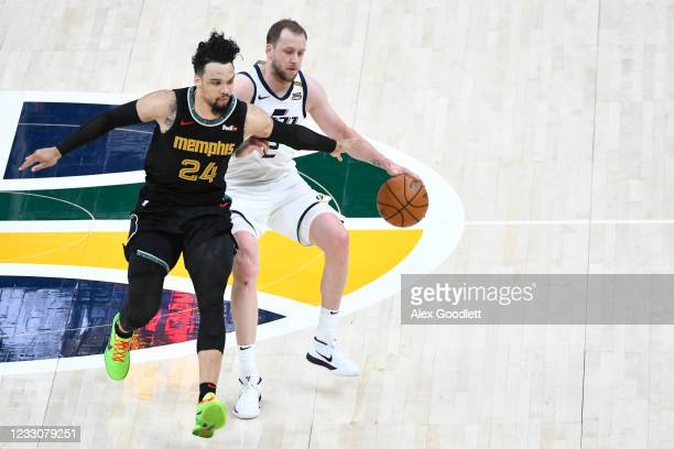 Dillon Brooks of the Memphis Grizzlies guards Joe Ingles of the Utah Jazz in Game One of the Western Conference first-round playoff series at Vivint...