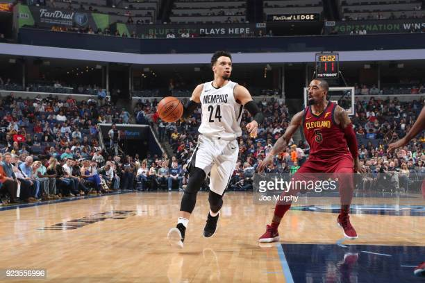 Dillon Brooks of the Memphis Grizzlies handles the ball against JR Smith of the Cleveland Cavaliers on February 23 2018 at FedExForum in Memphis...