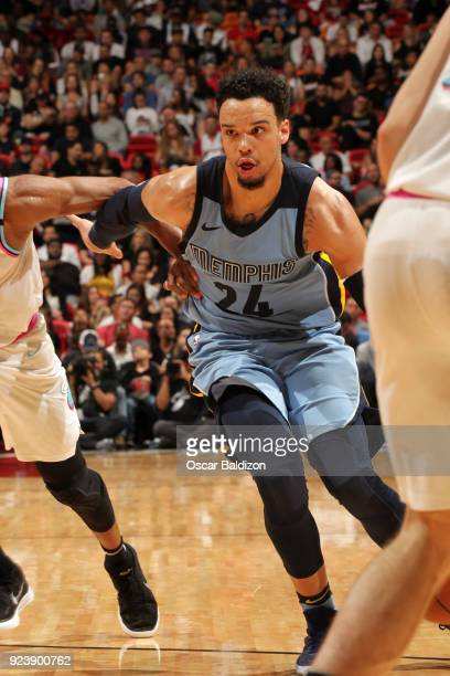 Dillon Brooks of the Memphis Grizzlies handles the ball during the game against the Miami Heat on February 24 2018 at American Airlines Arena in...