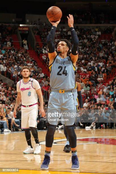Dillon Brooks of the Memphis Grizzlies shoots a free throw during the game against the Miami Heat on February 24 2018 at American Airlines Arena in...