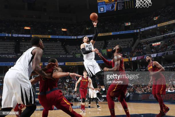 Dillon Brooks of the Memphis Grizzlies shoots the ball against the Cleveland Cavaliers on February 23 2018 at FedExForum in Memphis Tennessee NOTE TO...
