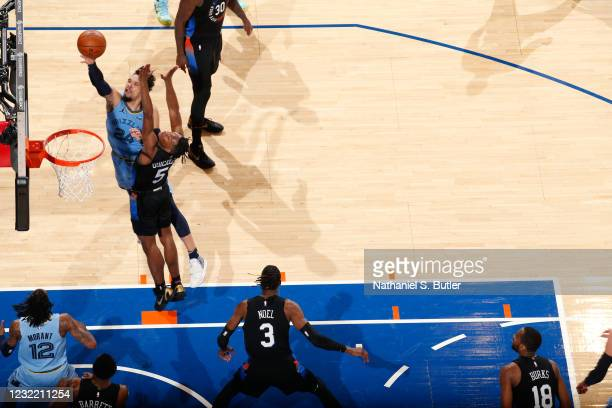 Dillon Brooks of the Memphis Grizzlies shoots the ball during the game against the New York Knicks on April 9, 2021 at Madison Square Garden in New...
