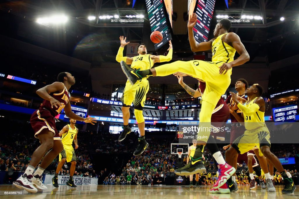 Dillon Brooks #24 of the Oregon Ducks attempts to rebound the ball in the first half against the Iona Gaels during the first round of the 2017 NCAA Men's Basketball Tournament at Golden 1 Center on March 17, 2017 in Sacramento, California.