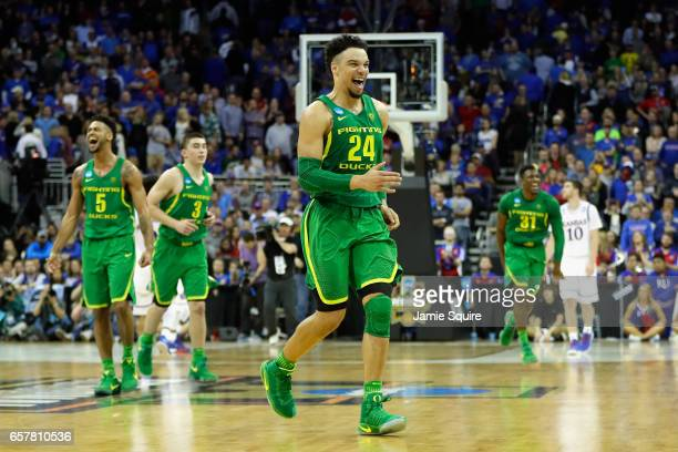 Dillon Brooks of the Oregon Ducks celebrates defeating the Kansas Jayhawks 7460 during the 2017 NCAA Men's Basketball Tournament Midwest Regional at...