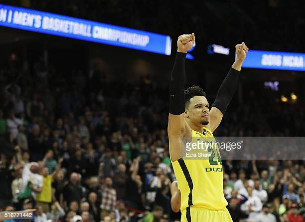 Dillon Brooks of the Oregon Ducks celebrates in the second half against the Saint Joseph's Hawks during the second round of the 2016 NCAA Men's...