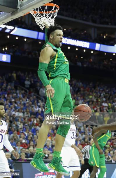 Dillon Brooks of the Oregon Ducks dunks the ball in the first half against the Kansas Jayhawks during the 2017 NCAA Men's Basketball Tournament...