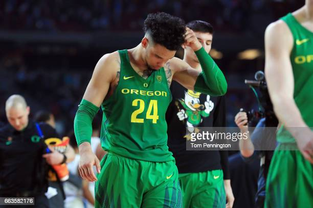 Dillon Brooks of the Oregon Ducks reacts after being defeated by the North Carolina Tar Heels during the 2017 NCAA Men's Final Four Semifinal at...