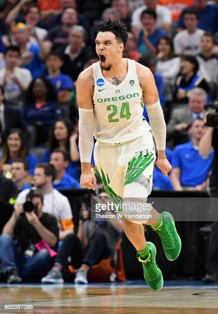 Dillon Brooks of the Oregon Ducks reacts against the Rhode Island Rams during the second round of the 2017 NCAA Men's Basketball Tournament at Golden...