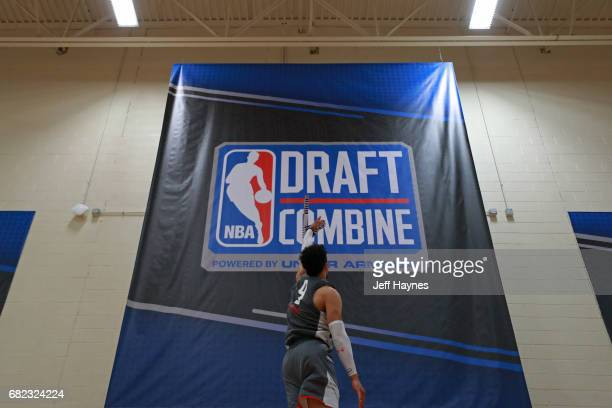 Dillon Brooks participates in the vertical jump during the NBA Draft Combine at the Quest Multisport Center on May 11 2017 in Chicago Illinois NOTE...