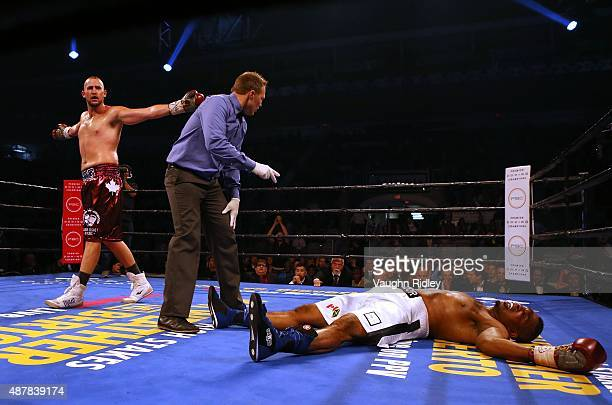 Dillon Carmen celebrates after knocking out Donovan Ruddock during their Premier Boxing Champions bout at the Ricoh Coliseum on September 11 2015 in...