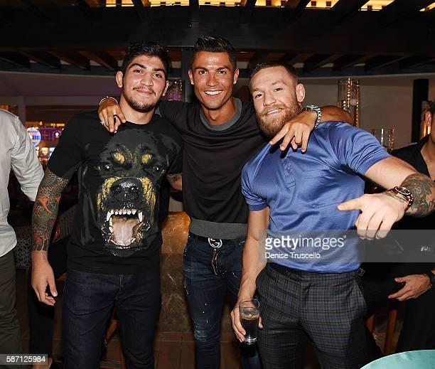 Dillon Danis Cristiano Ronaldo and Connor McGregor attend Jennifer Lopez's birthday at Nobu Villa Atop Nobu Hotel at Caesars Palace on July 24 2016...
