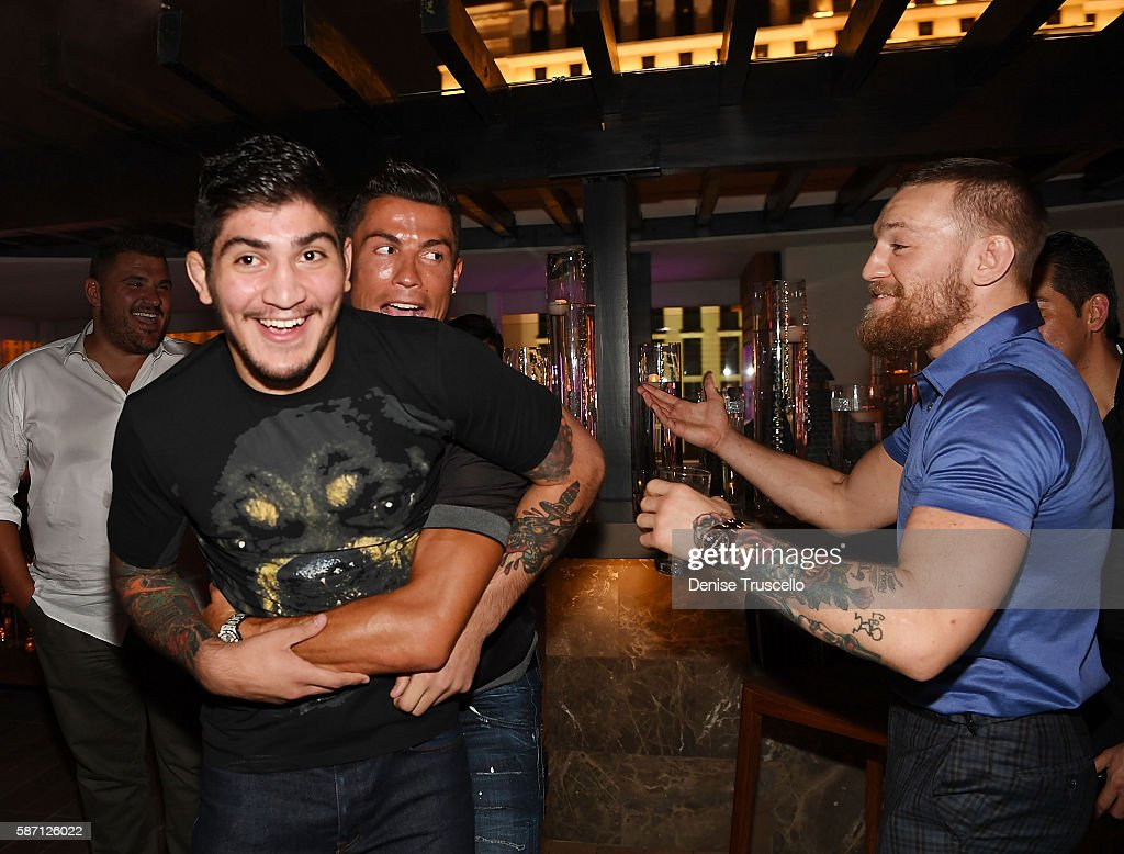 Dillon Danis, Cristiano Ronaldo and Connor McGregor attend Jennifer Lopez's birthday at Nobu Villa Atop Nobu Hotel at Caesars Palace on July 24, 2016 in Las Vegas, Nevada.