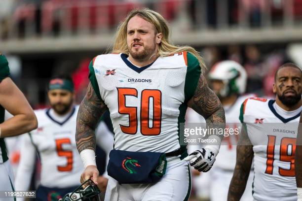 Dillon Day of the Seattle Dragons walks on the field during the first half of the XFL game against the DC Defenders at Audi Field on February 8, 2020...
