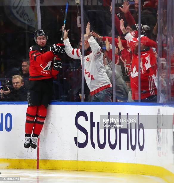 Dillon Dub of Canada celebrates his goal against Sweden in the second period during the Gold medal game of the IIHF World Junior Championship at...