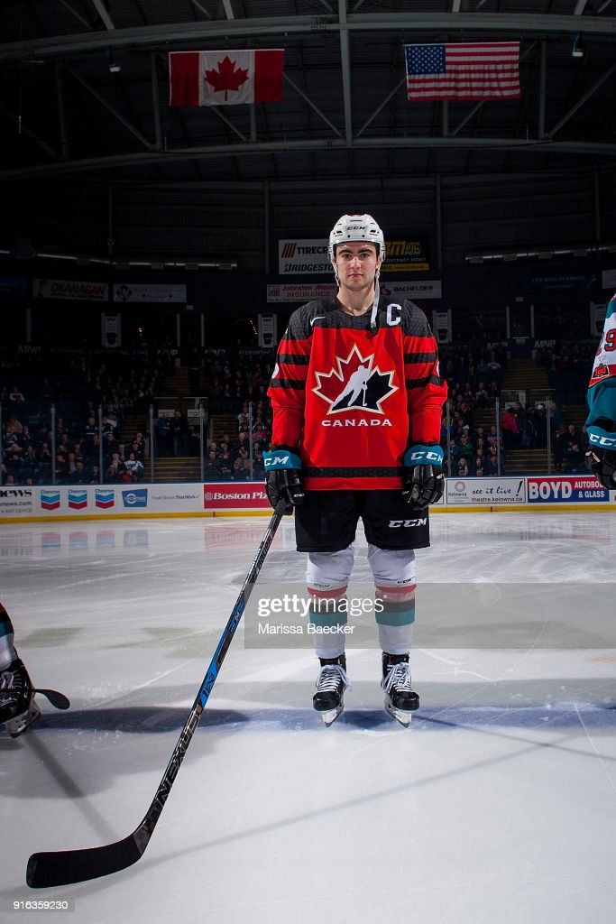 Dillon Dube #19 of the Kelowna Rockets stands on the blue line against the Lethbridge Hurricanes wearing his Team Canada World Jr. Championship jersey in honor of his gold medal win at Prospera Place on January 17, 2018 in Kelowna, Canada.
