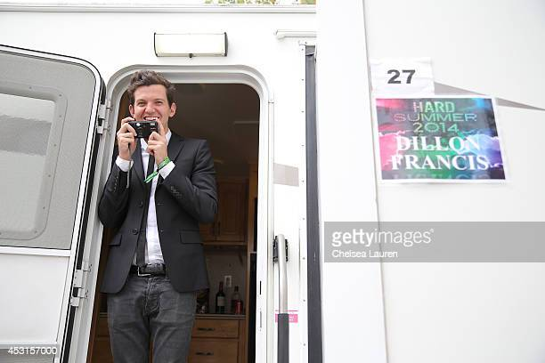 Dillon Francis poses backstage during HARD Summer at Whittier Narrows Recreation Area on August 3 2014 in Los Angeles California