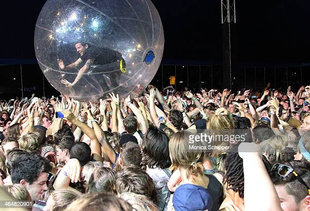 Dillon Francis rides in the hamster ball during Major Lazer's performance at the 2014 Big Day Out Festival on January 24 2014 in Melbourne Australia