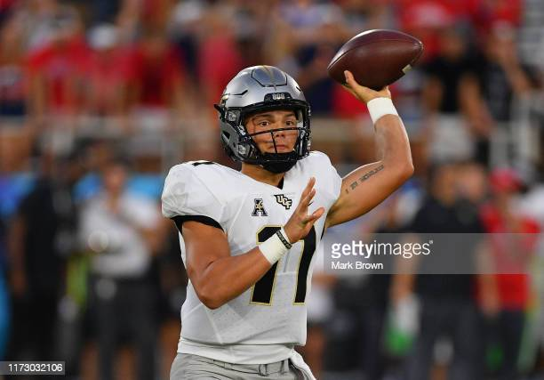 Dillon Gabriel of the UCF Knights delivers a pass in the first half against the Florida Atlantic Owls at FAU Stadium on September 07 2019 in Boca...