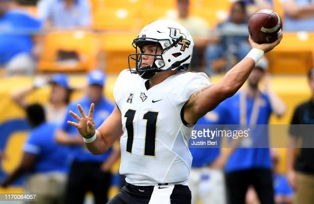 Dillon Gabriel of the UCF Knights passes in the first quarter during the game against the Pittsburgh Panthers at Heinz Field on September 21 2019 in...