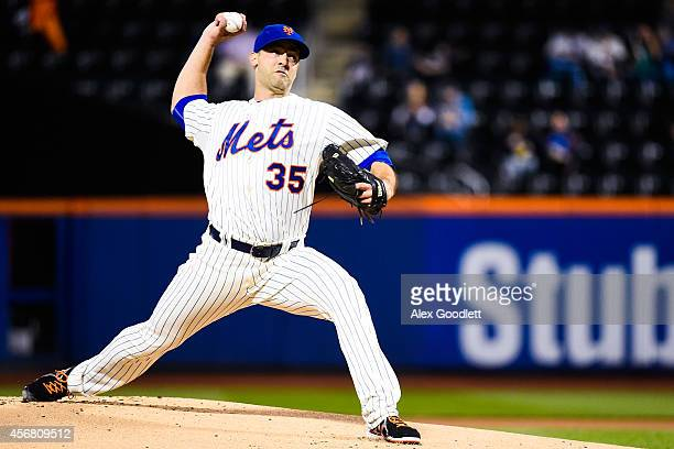 Dillon Gee of the New York Mets throws a pitch in the first inning during a game against the Miami Marlins at Citi Field on September 17 2014 in the...