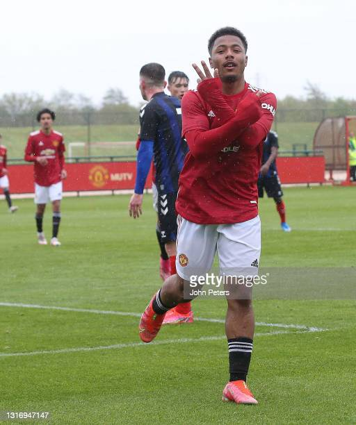 Dillon Hoogewerf of Manchester United U18s celebrates scoring their second goal during the U18 Premier League match between Manchester United U18s...
