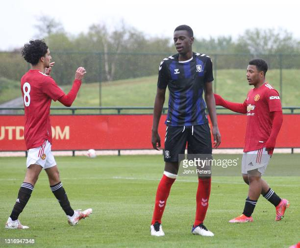 Dillon Hoogewerf of Manchester United U18s celebrates scoring their third goal during the U18 Premier League match between Manchester United U18s and...