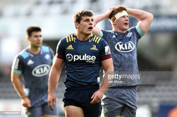 Dillon Hunt of the Highlanders looks on during the round 10 Super Rugby Aotearoa match between the Highlanders and the Hurricanes at Forsyth Barr...