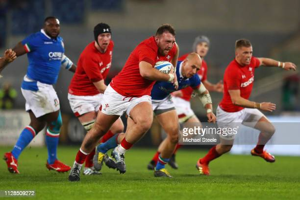 Dillon Lewis of Wales makes a break during the Guinness Six Nations match between Italy and Wales at Stadio Olimpico on February 09 2019 in Rome Italy