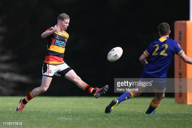 Dillon Martin of Waikato kicks in the day 2 match Otago v Waikato during the 2019 Jock Hobbs Tournament at Owen Delany Park on September 11 2019 in...