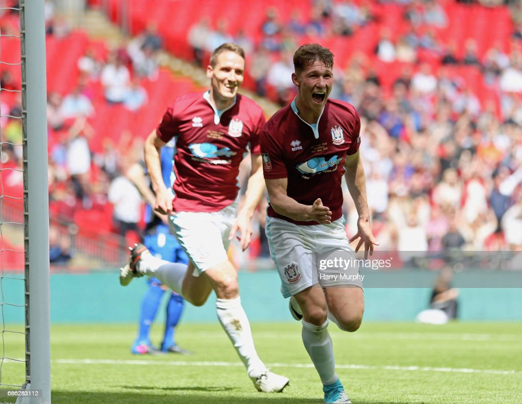 Dillon Morse of South Shields scores his teams second goal during the Buildbase FA Vase Final between South Shields and Cleethorpes Town at Wembley Stadium on May 21, 2017 in London, England.