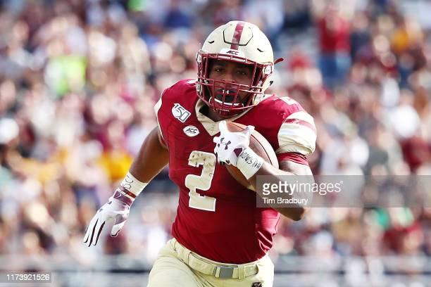 Dillon of the Boston College Eagles carries the ball during the first half against the Richmond Spiders at Alumni Stadium on September 07 2019 in...