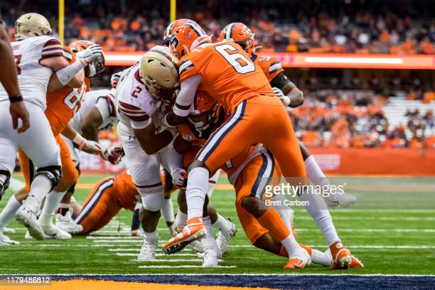 Dillon of the Boston College Eagles carries the ball for a touchdown during the third quarter against the Syracuse Orange at the Carrier Dome on...
