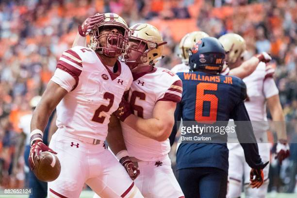 Dillon of the Boston College Eagles celebrates a touchdown during the first quarter that makes the score 147 Boston College leading Syracuse Orange...