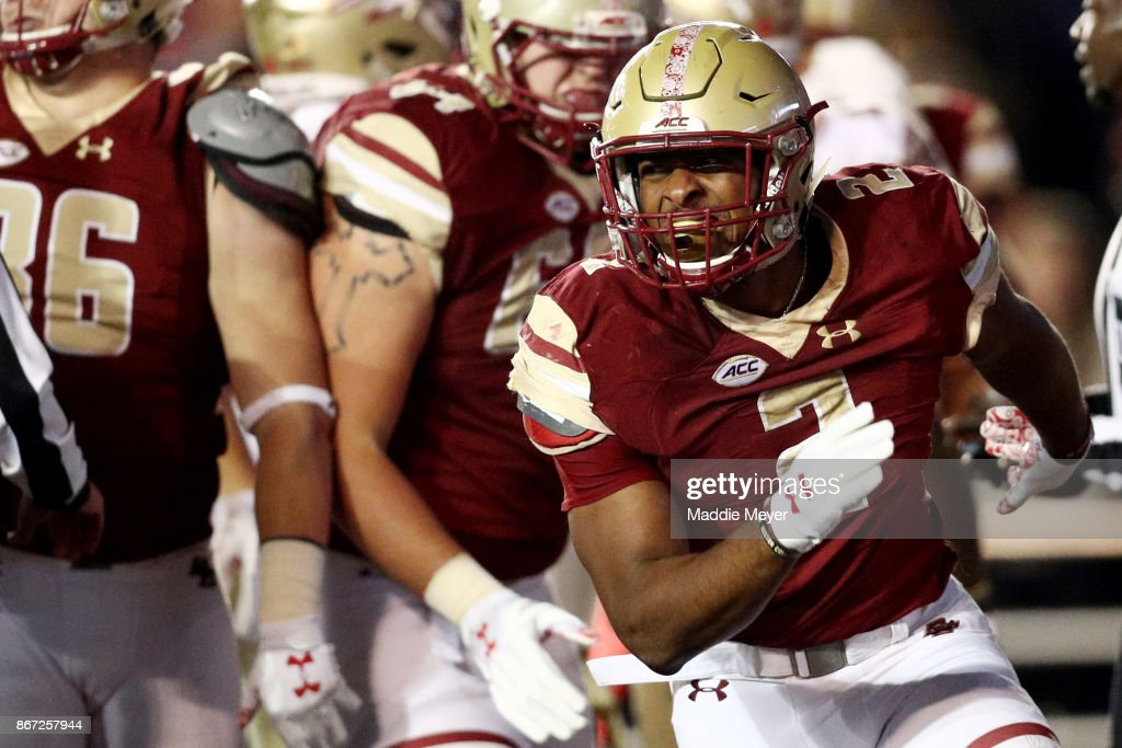AJ Dillon #2 of the Boston College Eagles celebrates after scoring a touchdown against the Florida State Seminoles during the third quarter at Alumni Stadium on October 27, 2017 in Chestnut Hill, Massachusetts.