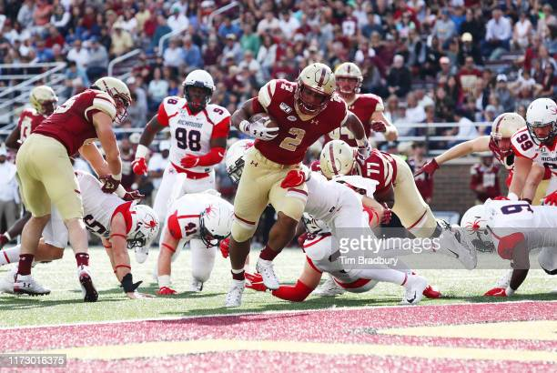 Dillon of the Boston College Eagles rushes for a touchdown during the first half against the Richmond Spiders at Alumni Stadium on September 07 2019...