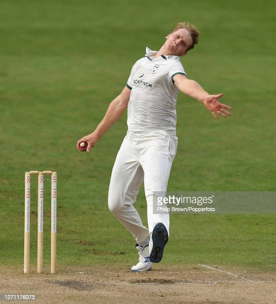 Dillon Pennington of Worcestershire bowls during the Bob Willis Trophy match against Somerset at New Road on September 07, 2020 in Worcester, England.