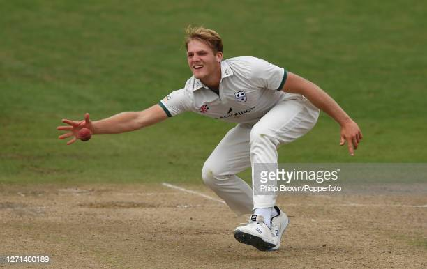 Dillon Pennington of Worcestershire fields off his own bowling during the Bob Willis trophy match against Somerset at New Road on September 08, 2020...