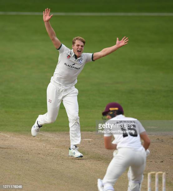 Dillon Pennington of Worcestershire reacts during the Bob Willis Trophy match against Somerset at New Road on September 07, 2020 in Worcester,...