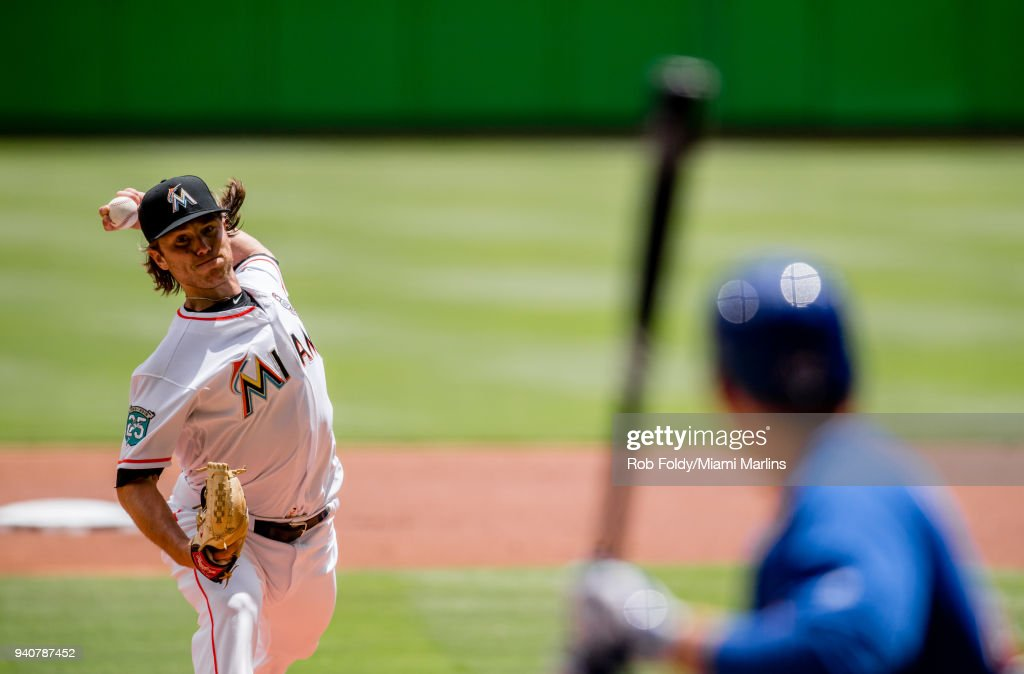 Dillon Peters #76 of the Miami Marlins pitches during the first inning of the game against the Chicago Cubs at Marlins Park on April 1, 2018 in Miami, Florida.