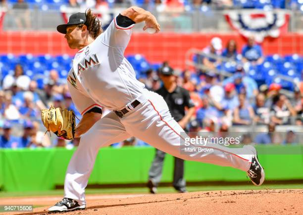 Dillon Peters of the Miami Marlins pitches in the first inning against the Chicago Cubs at Marlins Park on April 1 2018 in Miami Florida