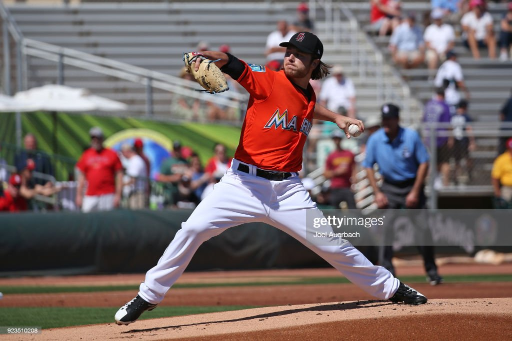 Dillon Peters #76 of the Miami Marlins throws the ball against the St Louis Cardinals during the first inning of a spring training game at Roger Dean Chevrolet Stadium on February 23, 2018 in Jupiter, Florida. The Marlins defeated the Cardinals 6-4.