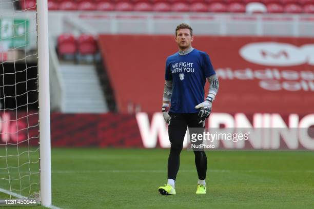 Dillon Phillips of Cardiff City during the Sky Bet Championship match between Middlesbrough and Cardiff City at the Riverside Stadium, Middlesbrough...