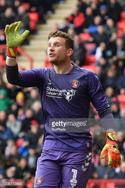 Dillon Phillips of Charlton in action during the Sky Bet Championship match between Charlton Athletic and Middlesbrough at The Valley London on...