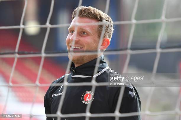 Dillon Phillips of Charlton warming up during the Sky Bet Championship match between Charlton Athletic and Middlesbrough at The Valley London on...