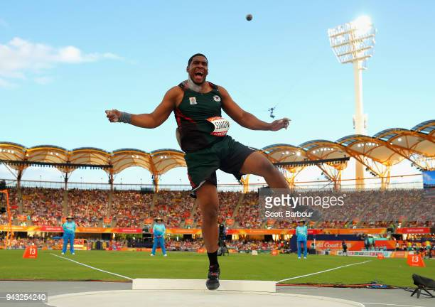 Dillon Simon of Dominica competes in the Men's Shot Put qualification on day four of the Gold Coast 2018 Commonwealth Games at Carrara Stadium on...