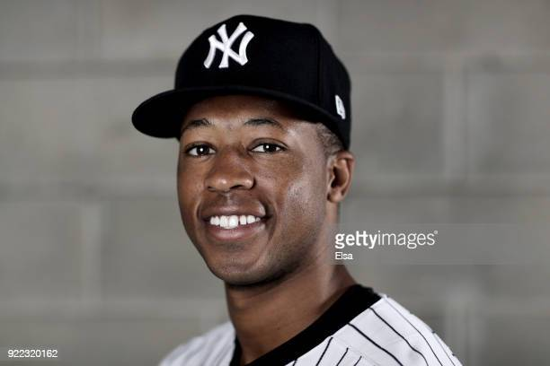 Dillon Tate of the New York Yankees poses for a portrait during the New York Yankees photo day on February 21 2018 at George M Steinbrenner Field in...